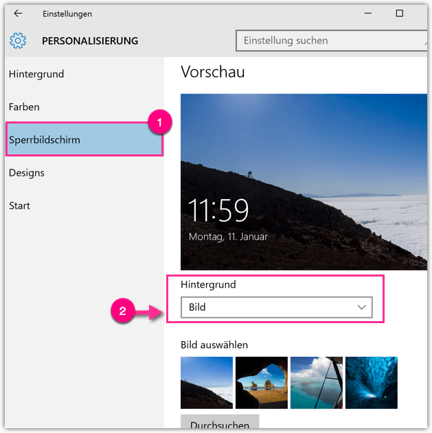 Windows 10 Sperrbildschirm
