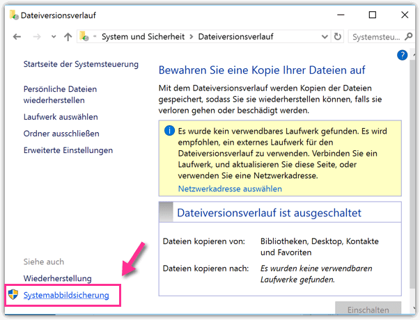 Windows 10 Systemabbildungssicherung oeffnen