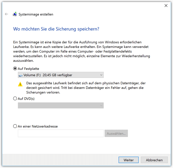 Windows 10 Systemimage erstellen