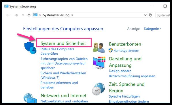 Windows 10 Systemsteuerung System und Sicherheit