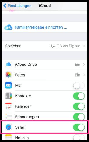 iOS iPhone Safari iCloud Syncronistation deaktivieren oder aktivieren