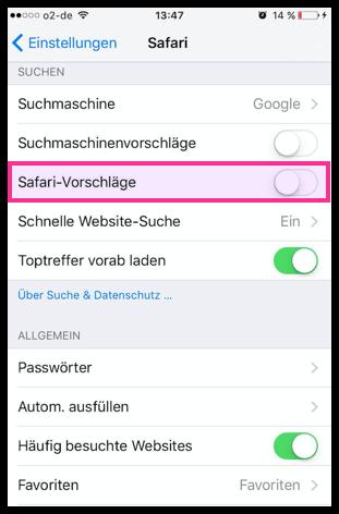 iPhone Safari-Vorschläge deaktivieren aktivieren
