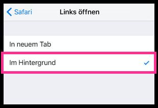 iPhone Safari aktivieren Links oeffnen im Hintergrund
