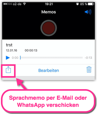 iPhone Sprachmemo verschicken