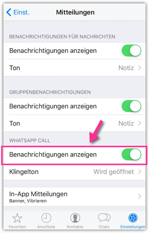 iPhone WhatsApp-Call Miteilung aktivieren