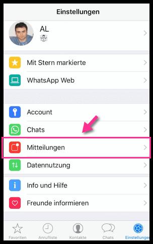 iPhone WhatsApp Mitteilungen Einstellungen oeffnen