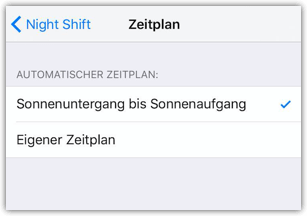 iPhone Zeitplan fuer Night Shift Blaulichtfilter