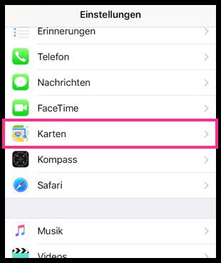 iPhone iPad Karten-App Einstellungen