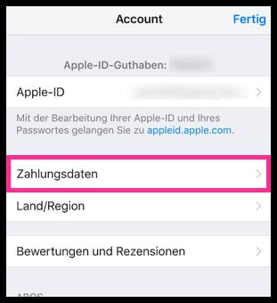 iPhone iPad Zahlungsdaten und Rechnungsadresse