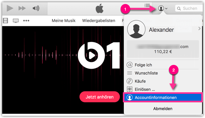 iTunes Accountinformationen