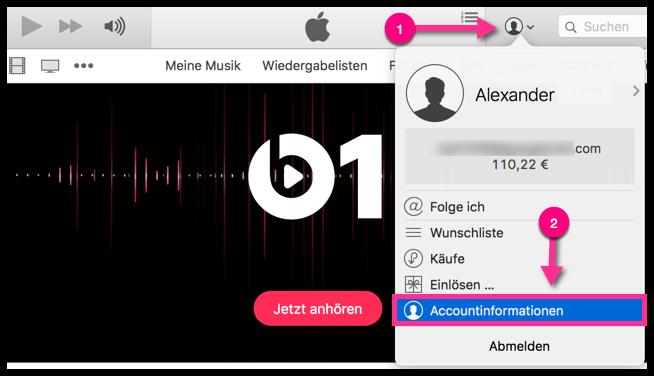 iTunes Accountinformationen