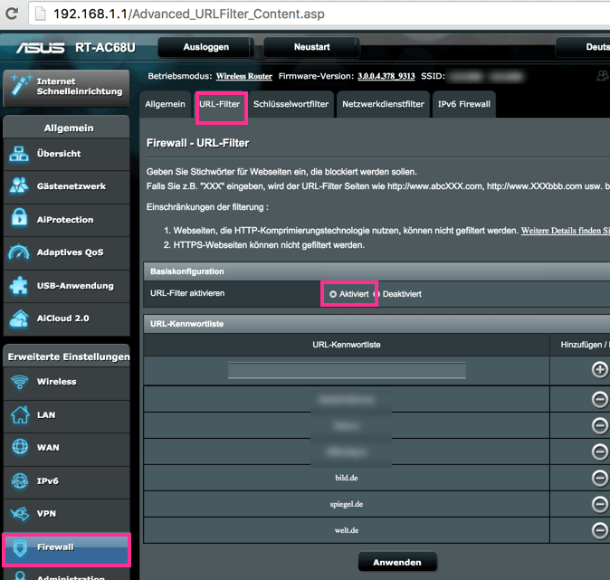 ASUS Router Webseiten Blockieren