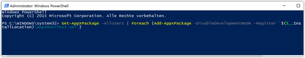 Alle Windows 10 Apps neu installieren mit PowerShell