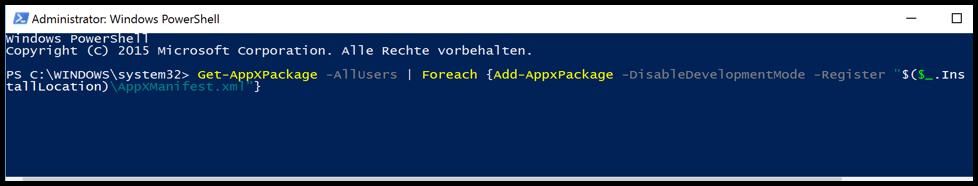 Alle Windows 10 Apps neu installieren mit PowerShell