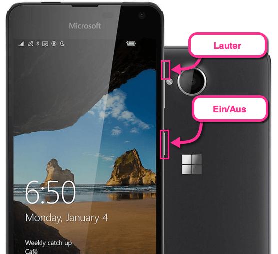 Lumia 650 Screenshot-Tasten