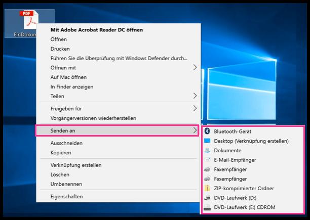 Windows 10 Senden an Eintraege