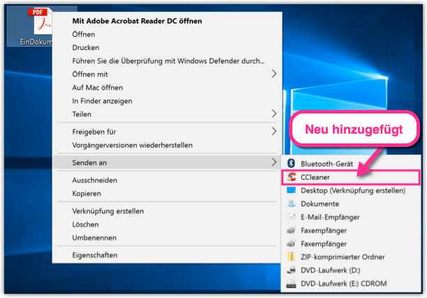 Windows 10 Senden an Elemente hinzugefuegt