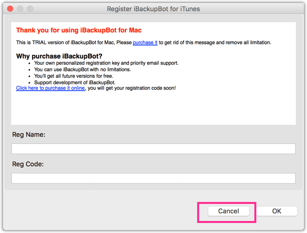 iBackUpBot Warnung Cancel