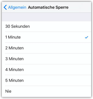 iPhone Automatische Sperre Zeiten