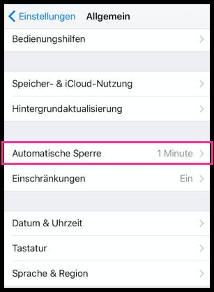 iPhone Automatische Sperre einstellen