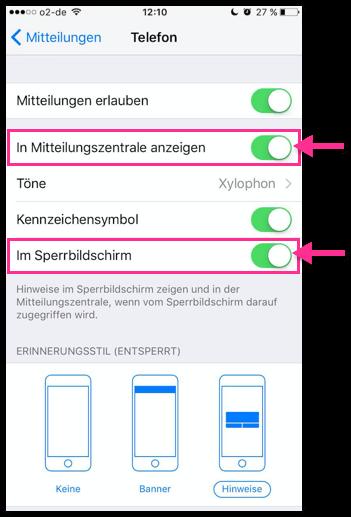 iPhone Mitteilungen auf dem Sperrbildschirm und Mitteilungszentrale