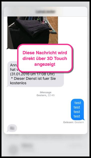 iPhone Nachricht lesen mit 3D Touch