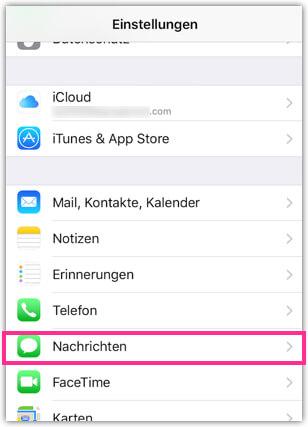 iPhone Nachrichten App Einstellungen