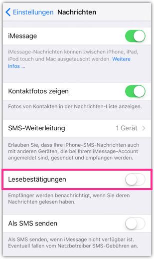 iPhone Nachrichten App Lesebestätigung deaktivieren oder aktivieren