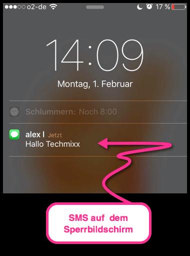 iPhone SMS auf dem Sperrbildschirm