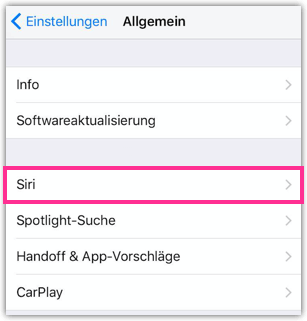 iPhone Siri Einstellungen