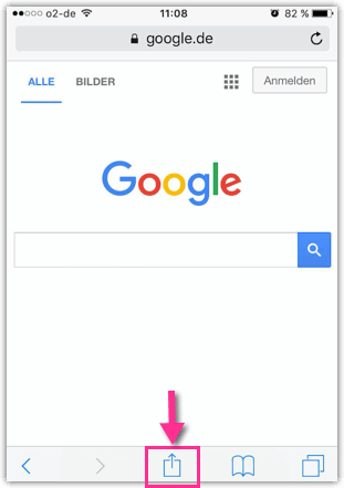 iPhone Webseite Teilen Symbol