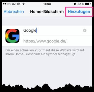 iPhone Webseite wird zum Home-Screen Hinzugefügt