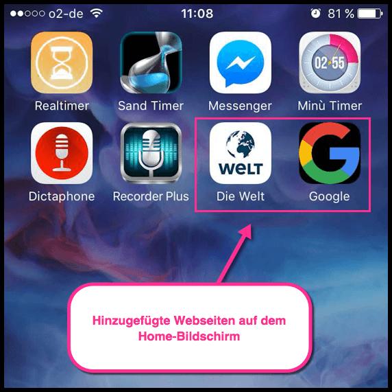 iPhone Webseiten auf dem Home-Screen als Apps