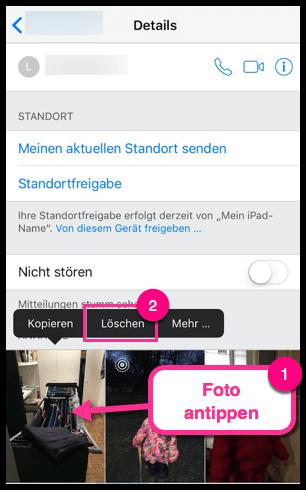 iPhone iPad Fotos aus SMS oder iMessage löschen