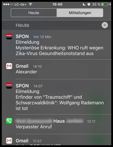 iPhone iPad Mitteilungszentrale