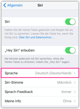 iPhone iPad Siri Sprache aendern
