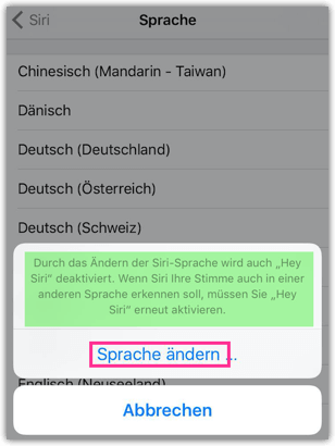 iPhone iPad Siri-Sprache auswahlen