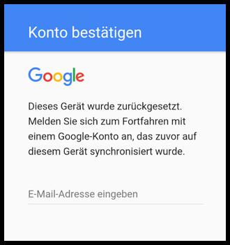 Android Konto nach zurücksetzen bestätigen