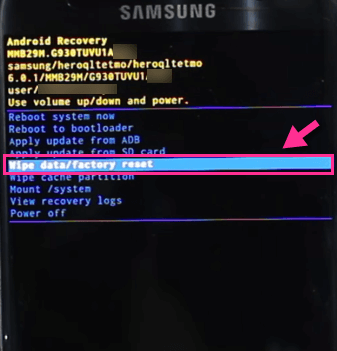 Galaxy S7 Wipe Data Factory Reset-