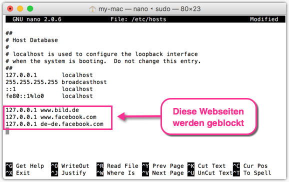Gesperrte Webseiten unter Mac OS X