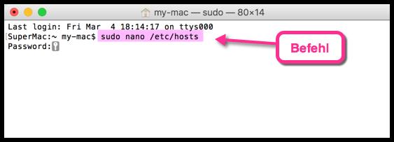 Mac sudo nano etc hosts