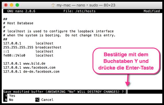 OS X Hosts Datei speichern