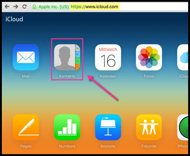 iCloud Webseite Kontakte oeffnen