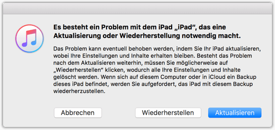 iPad iPhone Wiederherstellung oder Aktualisierung notwendig