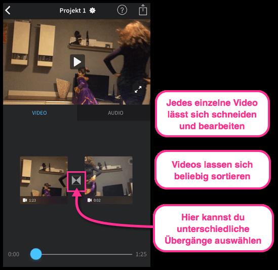 iPhone zwei Videos zusammenfuehren