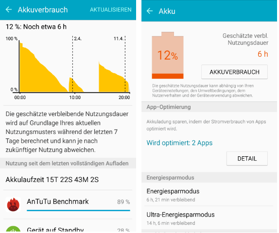 AKKU Optionen Samsung Galaxy A5 2016
