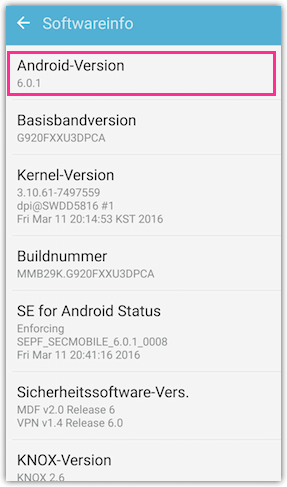 Android Version bei Samsung Galaxy Smartphones und Tablets