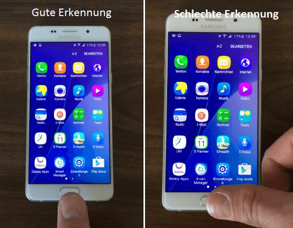 Galaxy A5 2016 Gute vs Schlechte Fingerprint Erkennung