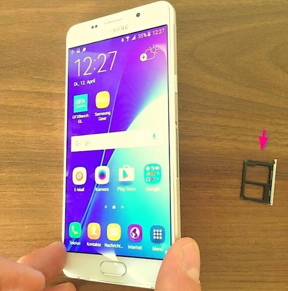 Galaxy A5 2016 SD-Karten Slot und Nano SIM Slot-