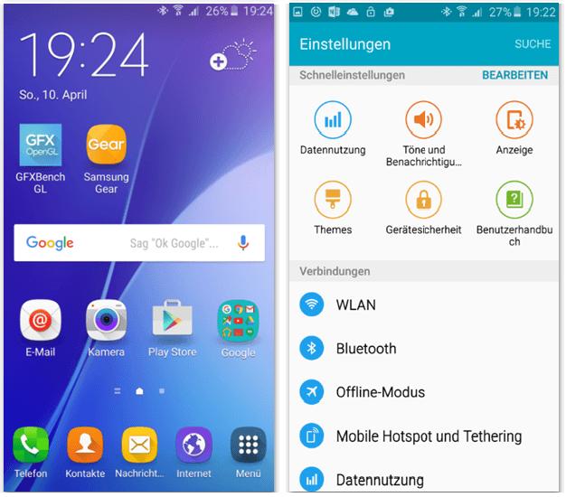 Galaxy A5 2016 UI